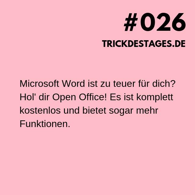 Microsoft Word ist zu teuer für dich Hol' dir Open Office! Es ist komplett kostenlos und bietet sogar mehr Funktionen.